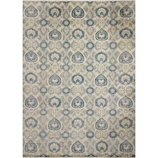 Fine Oushak Graeme Grey/Teal Blue Rug (10'0 x 13'9)