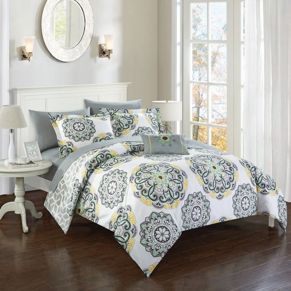 Shop Chic Home 8 Piece Catalonia Reversible Grey Comforter Bed In A