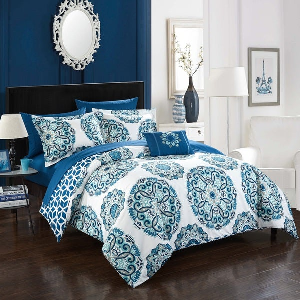 Porch & Den Prowers 8-piece Blue Reversible Bed in a Bag Comforter Set