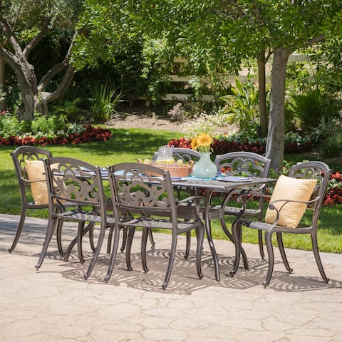 Austin Outdoor 7-piece Cast Aluminum Rectangle Dining Set by Christopher Knight Home