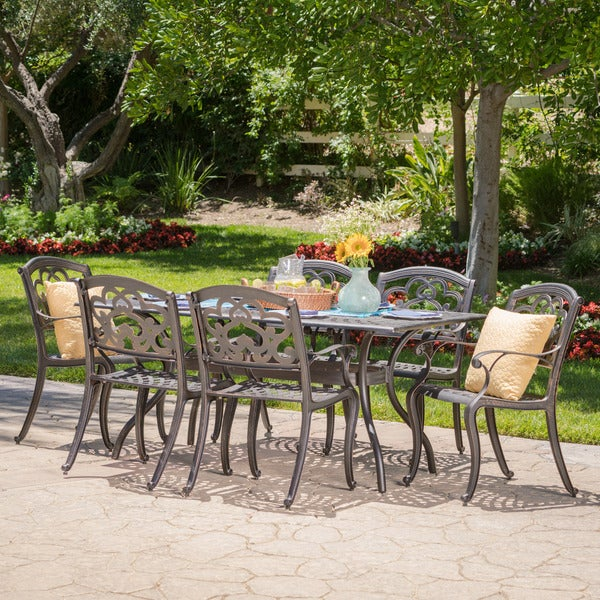 Austin Outdoor 7 Piece Cast Aluminum Rectangle Dining Set By Christopher  Knight Home