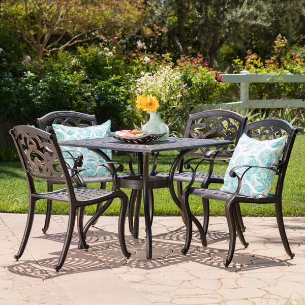 Shop Austin Outdoor 5 Piece Cast Aluminum Square Dining