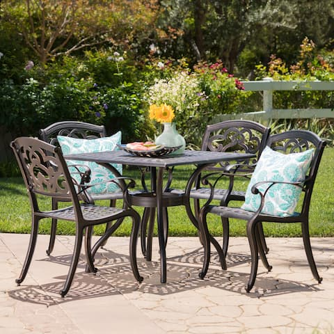 Austin Outdoor 5-piece Cast Aluminum Square Dining Set by Christopher Knight Home