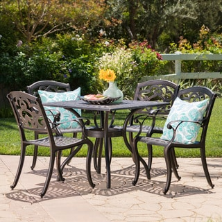 Austin Outdoor 5 piece Cast Aluminum Square Dining Set by Christopher  Knight HomeOutdoor Cayman 5 piece Cast Aluminum Black Sand Dining Set by  . Outdoor Dining Sets Austin. Home Design Ideas