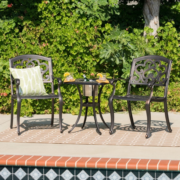 Austin Outdoor 3-piece Cast Aluminum Square Bistro Set by Christopher Knight Home