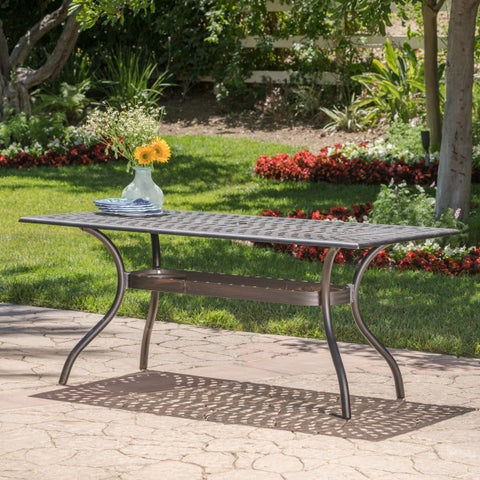 Austin Outdoor Cast Aluminum Square Dining Table with Umbrella Hole by Christopher Knight Home