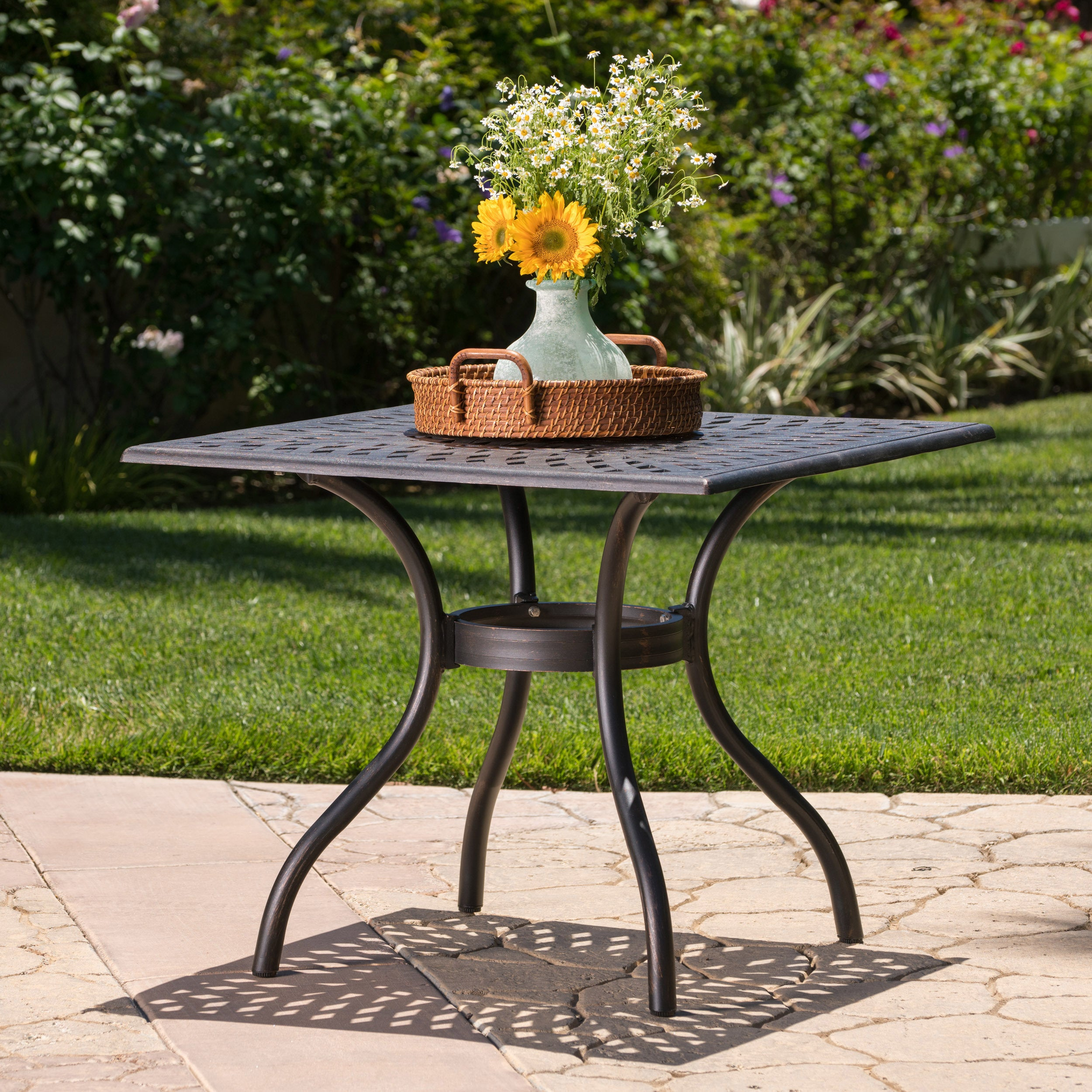 Austin Outdoor Cast Aluminum Square Dining Table With Umbrella Hole By