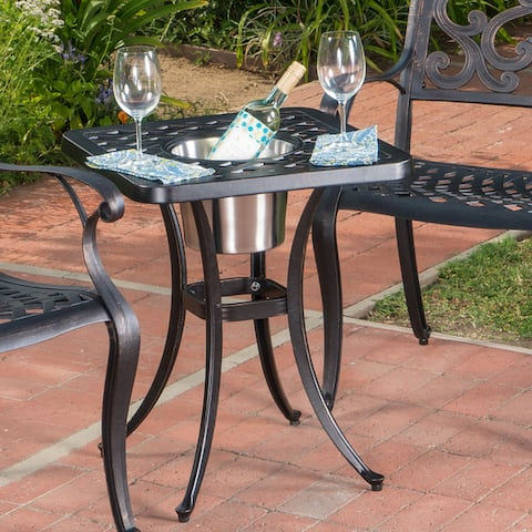 Ava Outdoor Cast Aluminum Bistro Table with Ice Bucket by Christopher Knight Home