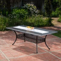 Abigail Outdoor Cast Aluminum Expandable Rectangle Dining Table with Umbrella Hole by Christopher Knight Home