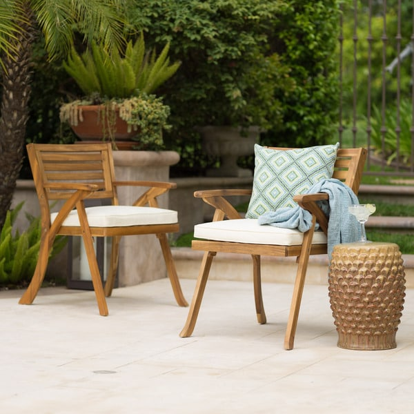 Shop Hermosa Outdoor Acacia Arm Chair With Cushions Set Of 2 By