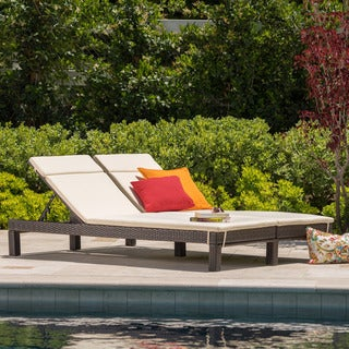 Argo Outdoor Wicker Double Chaise Lounge with Cushion by Christopher Knight Home