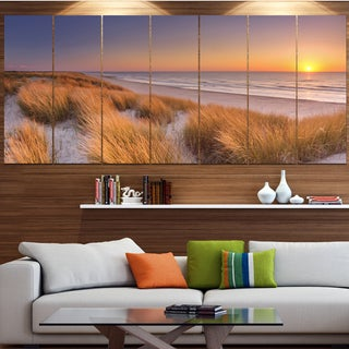 Designart 'Sunset on Texel Island Beach' Modern Seashore Canvas Wall Art