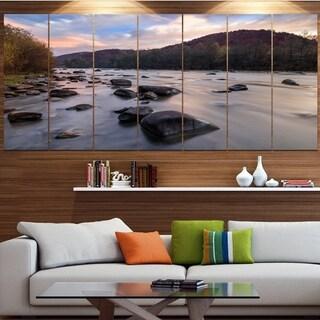 Designart 'Rocky Mountain River in Autumn' Seashore Wall Art on Canvas