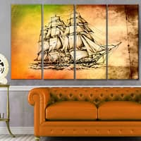 Designart 'Large Ancient Moving Boat' Seashore Wall Art on Canvas