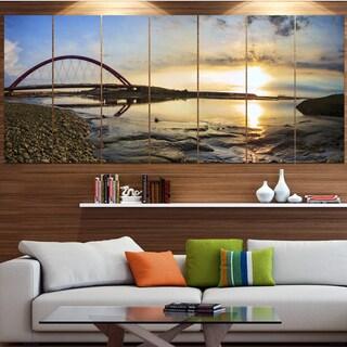 Designart 'Bridge Sunset Panorama' Seashore Wall Art on Canvas