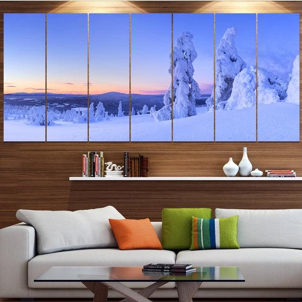 Designart 'Sunset over Frozen Trees' Modern Landscape Canvas Art