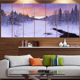 Designart 'Winter River in Finnish Lapland' Modern Landscape Canvas Art