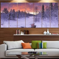 Designart 'Finnish Lapland Trees in Winter' Landscape Wall Art on Canvas - Multi-color
