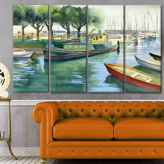 Designart 'Boats in River Watercolor' Landscape Wall Artwork