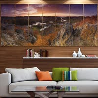 Designart 'Rural Autumn Sunset Panorama' Modern Landscpae Wall Art - Multi-color