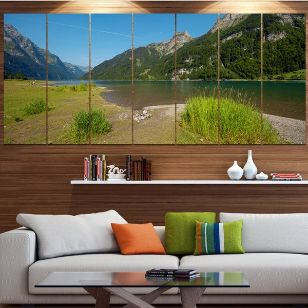 Designart 'Green Mountain Landscape View' Modern Landscpae Wall Art