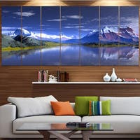 Designart '3D Rendered Mountains and Lake' Extra Large Multipanel Landscape Canvas Art Print
