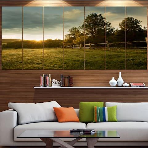 Designart 'Beautiful Sunrise in the farm' Landscape Wall Artwork - multi