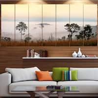 Designart 'Misty Morning Panorama' Modern Landscpae Wall Art - Multi-color