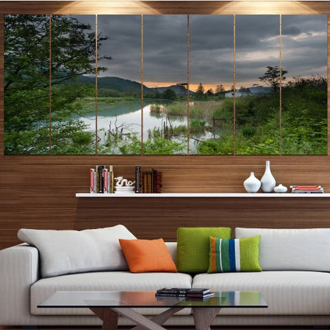 Designart 'Stormy Weather Over Swamp' Landscape Wall Artwork - Multi-color