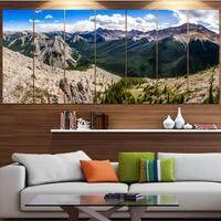 Designart 'Rocky Mountains Panorama' Modern Landscpae Wall Art - Multi-color