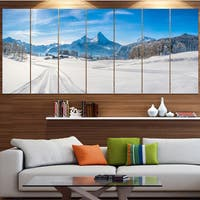 Designart 'Winter in Bavarian Alps Panorama' Landscape Wall Artwork - Multi-color