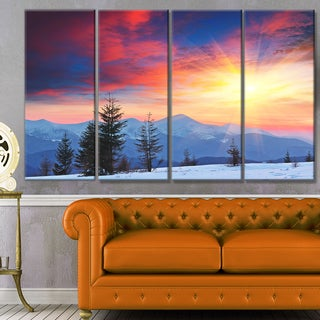 Designart 'Beautiful Winter Landscape View' Landscape Canvas Wall Artwork
