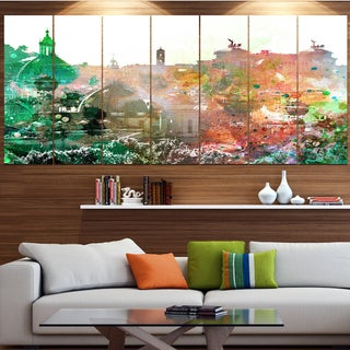 Designart 'Colorful City Watercolor' Landscape Wall Artwork