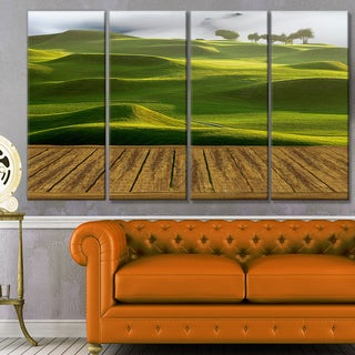 Designart 'Golf Course with Wooden Path' Modern Landscape Art