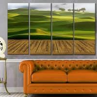 Designart 'Golf Course with Wooden Path' Modern Landscape Art - Multi-color