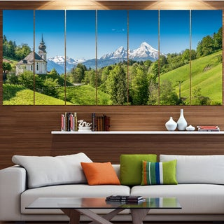 Designart 'Green Mountain View of Bavarian Alps' Modern Landscape Art