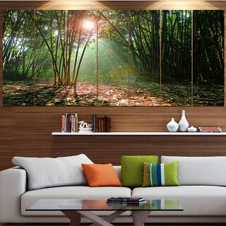 Designart 'Amazing Green Forest at Sunset' Landscape Wall Artwork on Canvas