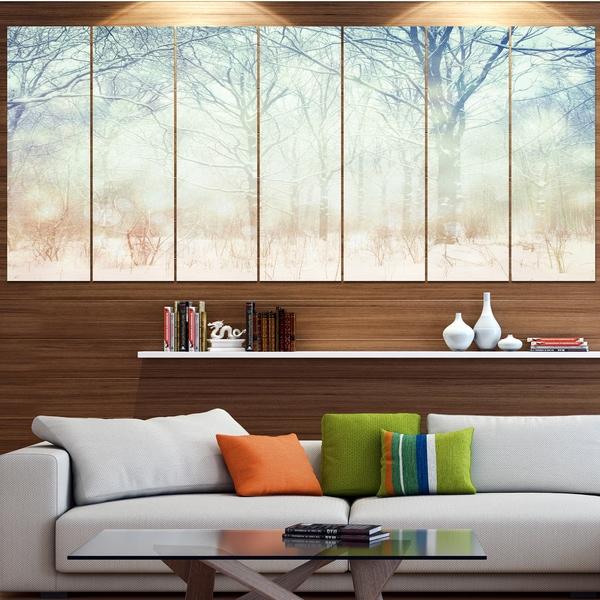 Designart 'Winter with Foggy Forest' Landscape Canvas Wall Artwork - Multi-color