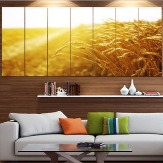 Designart 'Bright Sunset over Wheat Field' Landscape Canvas Wall Artwork