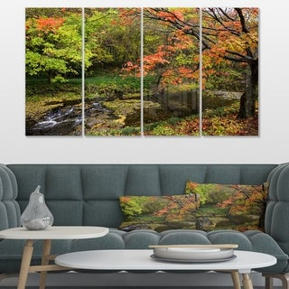 Designart 'Fall Trees in Bright Colors' Landscape Canvas Wall Artwork