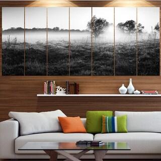 Designart 'Rural Meadow in Mist' Landscape Wall Artwork on Canvas