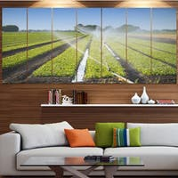 Designart 'Beautiful View of Crops Watering' Landscape Wall Artwork on Canvas - Multi-color
