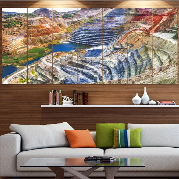 Designart 'Impressive Mines and Canyon' Landscape Wall Artwork on Canvas
