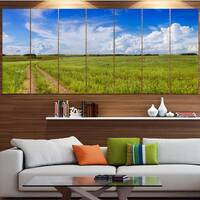 Designart 'Road in Field with Green Grass' Landscape Wall Artwork on Canvas