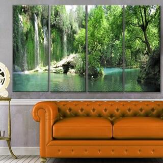 Designart 'Waterfall Cascade in Deep Forest' Landscape Wall Artwork on Canvas