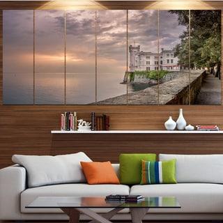 Designart 'Miramare Castle at Sunset' Landscape Wall Artwork on Canvas