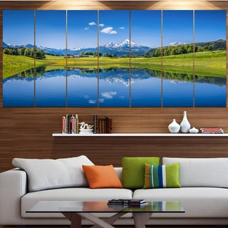 Designart 'Summer with Clear Mountain Lake' Landscape Wall Artwork on Canvas
