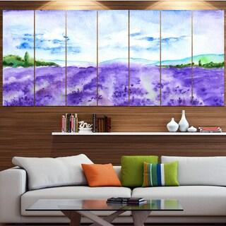 Designart 'Blue Lavender Fields Watercolor' Landscape Wall Artwork