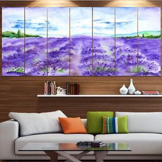 Designart 'Lavender Fields Watercolor' Landscape Wall Artwork