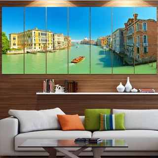 Designart 'Green Grand Canal Venice' Landscape Wall Artwork on Canvas